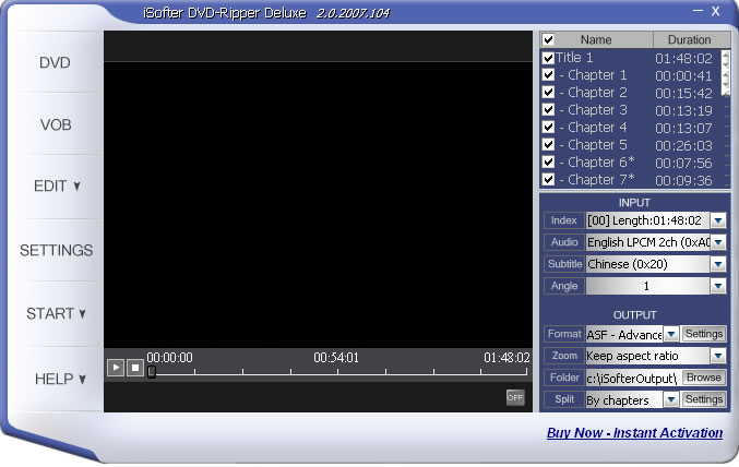 iSofter DVD Ripper Deluxe is a powerful and easy-to-use tool for you to rip DVD movie to computer by converting DVD to VCD//AVI(Divx,Xvid)/WMV format with almost same quality. just 10% size.